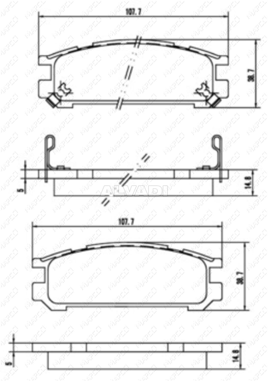 Brake Pad Set Disc Mapco 6897 For Subaru Diagram